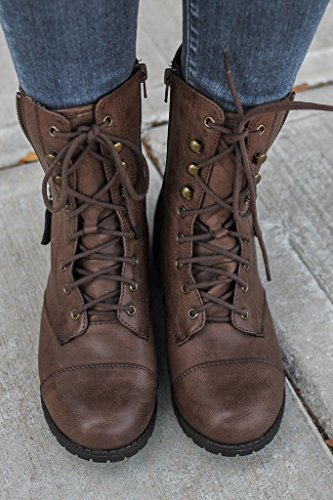 FISACE Womens Winter Round Toe Military Lace Up Knit Ankle Cuff Low Heel Combat Boots Marten Boot Leather Boot