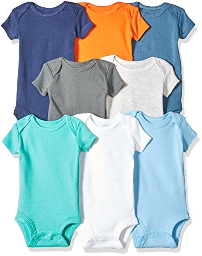 Carter's Baby Boys' 8 Pack Short-Sleeve Bodysuits, Multi/Turquoise, 24 Months