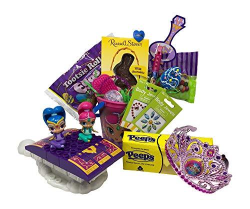 (Shimmer and Shine Easter Basket Pre Filled with Easter Candy, Easter Toys, Easter Basket Filler, and Easter Basket Grass | Great for Kids, Boys and Girls)