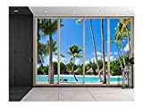wall26 Large Wall Mural - Tropical Palm Trees Seen Through Sliding Glass Doors | 3D Visual Effect Self-adhesive Vinyl Wallpaper/Removable Modern Decorating Wall Art - 100''x144''