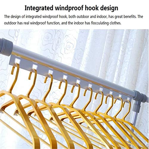 Balcony Drying Rack Indoor Aluminum Lifting L Cool Hanger Floor Folding Thick Double Pole Clothes Pole,Gold by YIN QM (Image #2)