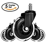 MVPower 3'' Office Chair Caster Wheels Replacement,Set of 5 Heavy Duty & Safe for Hard Floors, Desk Chair Casters With Soft Rubber Wheels Carpet Rolling Safe Smooth and Silent