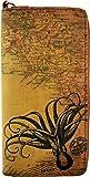 Lavishy Octopus Antique Travel Print Wristlet Checkbook Vegan Zip-Around Wallet Clutch Brown, Bags Central