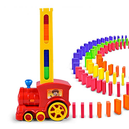 Asdomo Domino Train Toys Rally Electric Train Model w/ Lights Sound, 60pcs Colorful Domino Game Building Blocks Car Truck Dominoes Kid Toys