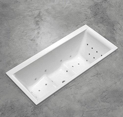 Duo Badewanne ergonomisch 180 x 80 x 57 cm weiss extra tief für richtiges Baden