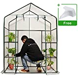 Quictent Mini Walk-in Greenhouse, 3 Tiers 6 Shelves Plants Garden Green House for Indoor Outdoor 56'x29'x77'- 50 Pcs Plant T-Type Tags Include