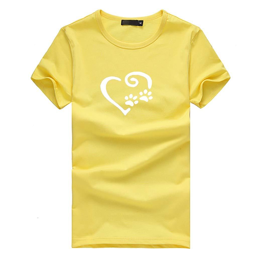 Leoy88 Fashion Women's Loose Short-Sleeved Print T-Shirt Casual O-Neck Top Yellow