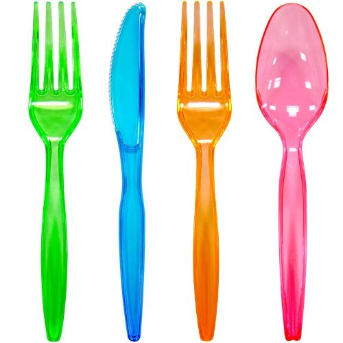 Plastic Cutlery 96-Piece Combo Knives/Forks/Spoons, Assorted