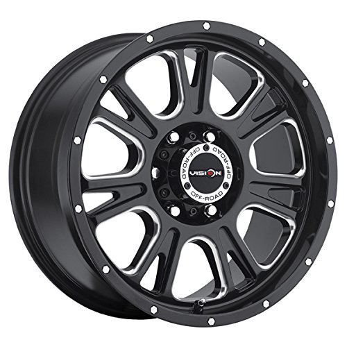 17 inch 17x8.5 Vision Off-Road Fury Gloss Black Milled Spoke wheel rim; 6x5.5 6x139.7 bolt pattern with a +0 offset. Part Number: 399-7883MS0