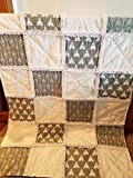 Grey and White Teepee and Arrow rag quilt, Baby crib quilt
