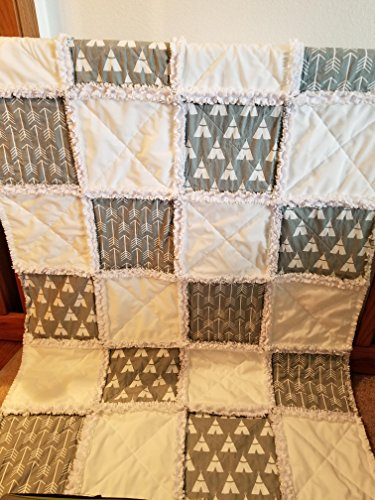 Grey and White Teepee and Arrow rag quilt, Baby crib quilt by Krystals Sewing Memories and Personalized Gifts