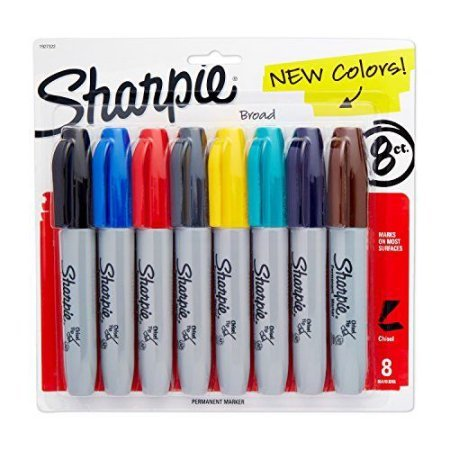 (Sharpie 1927322 Permanent Marker, 5.3mm Chisel Tip, Assorted Fashion, 8/Pack)