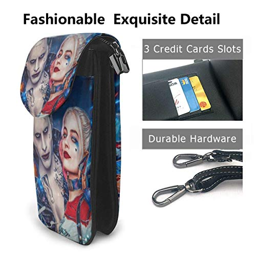 Ha-Rley Qui-Nn läder mobiltelefon handväska crossbody väskor liten axelväska resa plånbok handväska med justerbar rem