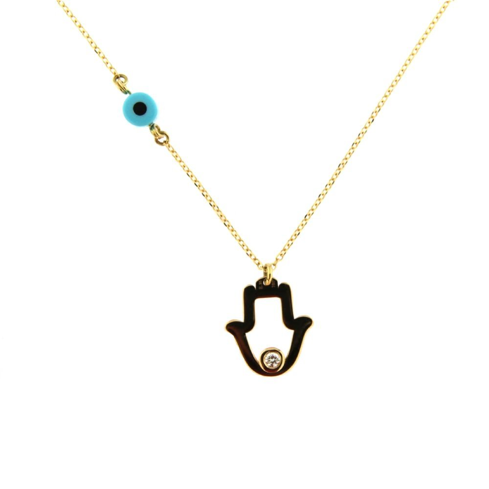 18K Yellow Gold Diamond Hamsa Necklce with a side Ceramic Eye 18 inches with and extra ring at 16.50 inches D 0.02 ct