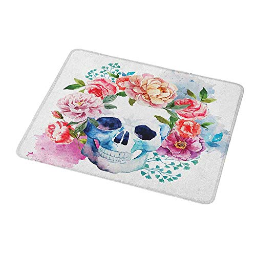 Mouse Pad Unique Custom Skull,Funny Skull with Colorful Floral Head Victorian Style Dead Skeleton Graphic Art Print,Mousepad Great for Laptop,Computer - Print Lee Victorian