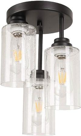 Vintage Semi Flush Mount Ceiling Light Pendant Lamp Seedy Glass Bathroom Fixture
