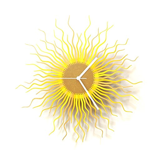 Medusa Gold L / XL / XXL - Contemporary Wooden Wall Clock with Shades of Gold and Yellow by ardeola