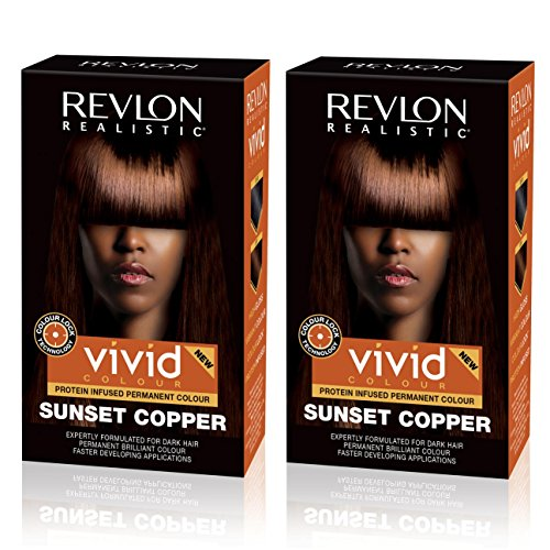 Revlon Realistic Vivid Colour Protein Infused Permanent Color Hair Dye with Color Lock Technology, Sunset Copper 110ml, Pack of 2 ()