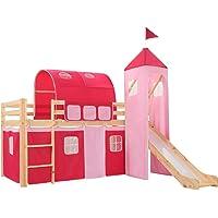 vidaXL Cama Alta para Niños Tobogán y Escalera Madera Pino 97x208 cm Somier Mueble Mobiliario Dormitorio Habitación…