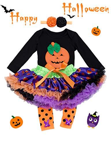Halloween Outfits for Baby Girls - 4 Pieces Newborn Pumpkin Costume Romper Tutu Dress Set, L(6-12 Months), Black -