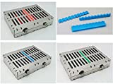 3pcs 10 Instruments Cassette Higher & 1 silicone Dental Surgical Sterilization Tray Racks With Lock fit elevator