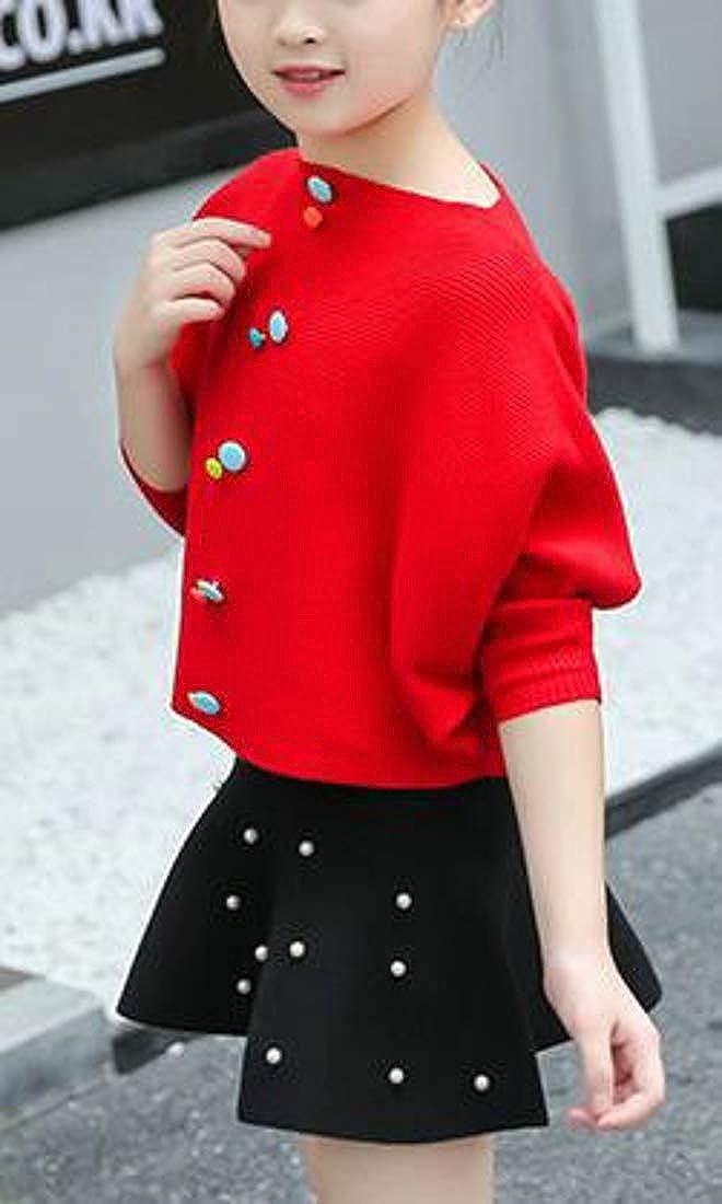 Pandapang Girls Loose Batwing Sleeve Crewneck Knit Sweater