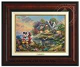 Thomas Kinkade Disney Mickey and Minnie Sweetheart Cove 9'' x 12'' Canvas Classic (Burl)