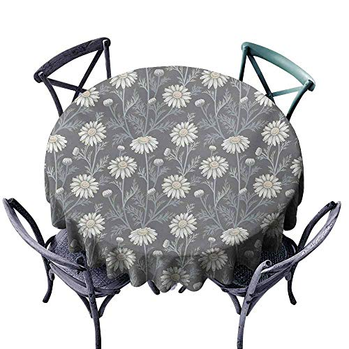 VIVIDX Spillproof Tablecloth,Floral,Cottage Daisy Petals Field Summer Gardening Theme Chamomile Flourish,Party Decorations Table Cover Cloth,43 INCH,Grey Coconut Sage Green ()
