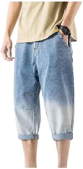 Beeatree メンズサマー 3/4 長ズボン プラスサイズ カウボーイ グラデーション パンツ
