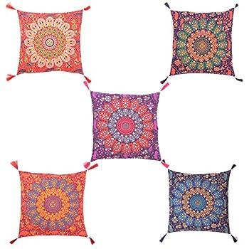 Tanya Handicrafts Cotton Mandala Cushion Cover Handmade Indian Cushion Sham Multi Color Cushion Cover 16x16 inches 5 Pieces Set