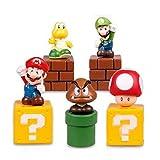 Super Mario Brothers Birthay Cake Topper, Super Mario Bros Action Figures, Mini Super Mario Bros Figures Bundle including Mario, Luigi, Mushroom, Goomba, Koopa Troopa, 2'