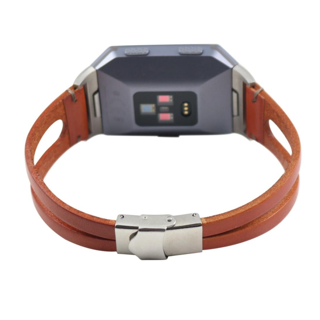 Buyeverything For Fitbit Ionic Bands - Vintage Classic Leather Bracelets Replacement Band Retro Adjustbable Wristband Straps Accessories for Fitbit Ionic Women Men (Brown)