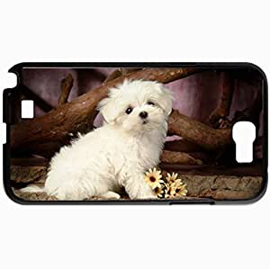 Personalized Protective Hardshell Back Hardcover For Samsung Note 2, Cute Maltese Puppies Design Design In Black Case Color