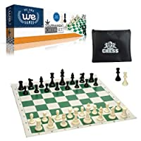 """Tournament Style Chess Set with Green Tournament Roll-up Chessboard with 2.25"""" Square"""