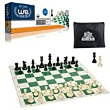 WE Games Tournament Chess Set- Heavy Weighted Chess Pieces with Green Roll-up Chess Board and Zipper Pouch for Chessmen