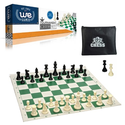 WE Games Tournament Chess Set- Heavy Weighted Chess Pieces with Green Roll-up Chess Board and Zipper Pouch for Chessmen (Staunton Weighted Chess Set)