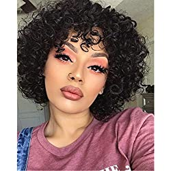 Molefi Short Curly Wig 100% Human Hair Wigs Short Black Hair Wigs with Bangs Kinky Curly Wigs for Black Women Fashion Looking (Curly)