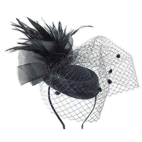 Fascinator Hats Pillbox Hat Bowler Hat Feather Veil Mesh Wedding Hat Black (Top Hats Fancy Dress)