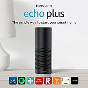 Introducing Echo Plus – With built-in smart home hub (Black) – Includes Philips Hue White E27 Edison Screw Light Bulb