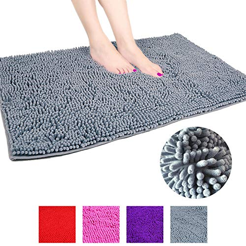 (Homyux 24x35 inch Chenille Bathroom Rugs Large Shag Bath Mat, Extra Soft and Absorbent,1500GSM Ultra Thickness, Machine Washable with Non-Slip Backing, Gray)