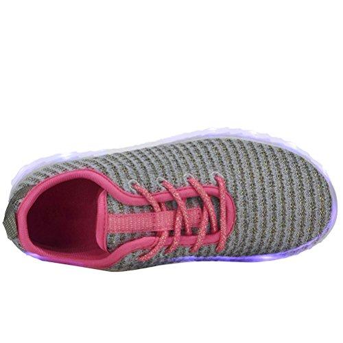 YILAN Kleinkind & Kinder & Womens'led Schuhe wiederaufladbare beleuchtete Turnschuhe G-Grau / Fuchsia