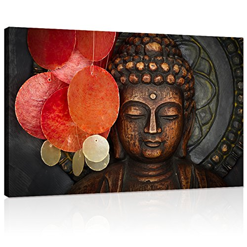 Buddha Canvas Wall Art Wood Buddha Statue Canvas Prints Keep inner Peaceful Buddha Artwork for Living Room Yoga Room (32