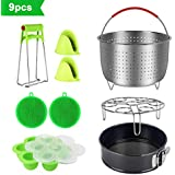 9 Piece Accessories Kits for Instant Pot 6, 8 Qt - With Large Stainless Steel Steamer Basket, Non-Stick Springform Pan, Egg Rack, Egg Bites Mold, Oven Mitts, Bowl Clip and Silicone Scrub Pad