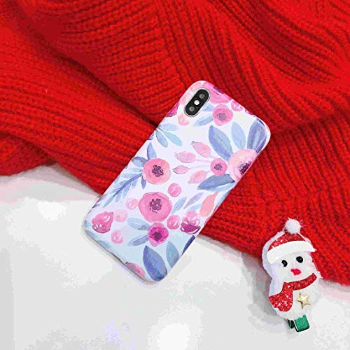 Twinlight Full Covered Vintage Flower Case for iPhone Xs Max XR XS X 7 8 Plus Full Body Soft IMD Letters Phone Back Cover Cases Gift (D, for iPhone Xs Max) (J Letter Case 6 Iphone)