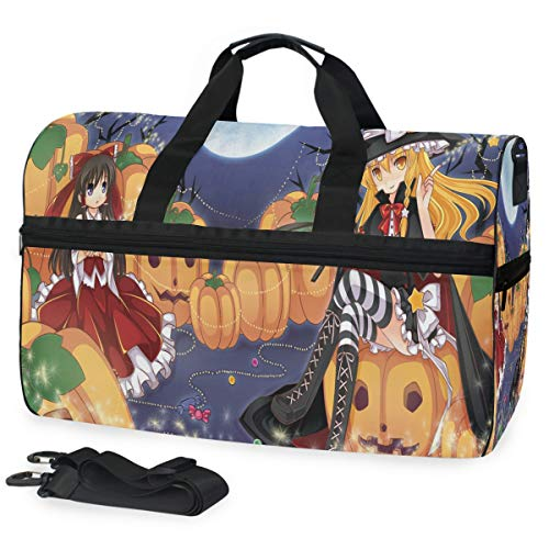 (Gym Bag Vintage Anime Halloween Wallpaper Sport Travel Duffel Bag with Shoes Compartment Large Capacity for)