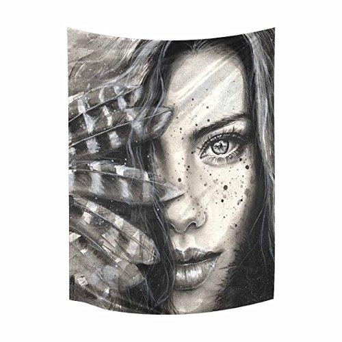 InterestPrint Watercolor Fashion Girl Portrait Feathers Freckles Cotton Linen Wall Hanging Tapestry, Home Decor Collection Bedroom Living Room Dorm, 60 W X 80 L Inches