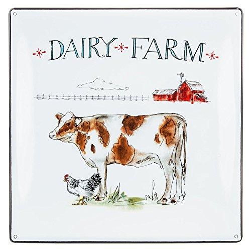 Farmhouse Kitchen Decor Dairy Farm Collectible Cow Farm Animal White Enamel Plate Wall Decor