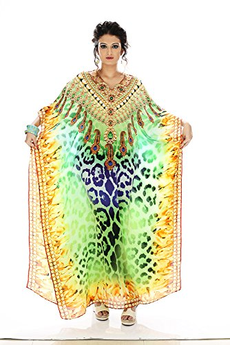 Women's Georgette Printed Turkish Kaftans Beachwear Bikini Cover up Dress Free Size Multi Color Digital Print By D G PRINTS FAB (Style No. DGPF-001)