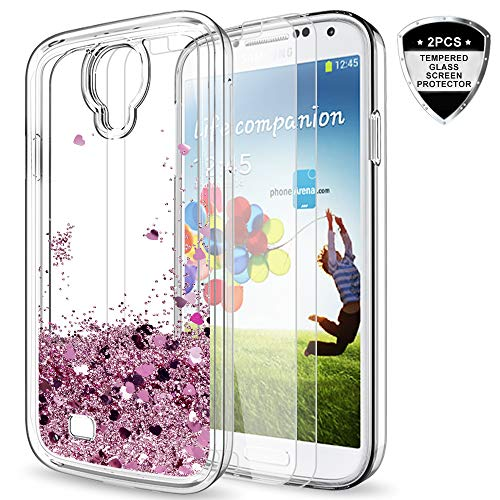 Galaxy S4 Case with Tempered Glass Screen Protector [2 Pack] for Girls Women,LeYi Cute Bling Shiny Moving Quicksand Liquid Clear TPU Protective Phone Case for Samsung Galaxy S4 ZX Rose Gold