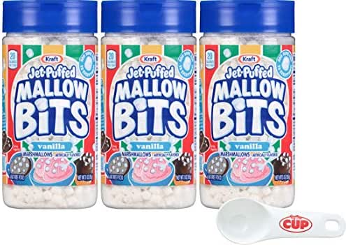 Kraft Jet-Puffed Mallow Bits Vanilla Flavor Marshmallows 3 Ounce (Pack of 3) with By The Cup Portion Scoop